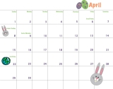 April Calendar, FreePrintable